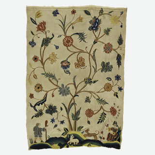 Small panel embroidered in a pictorial design showing a central tree with vine-like branches rising from a stylized mound. Lower left shows a man with a shepher's crook; and lower right, a seated woman holds a flower. Foreground has two lambs and a dog. Linen warp, cotton weft.