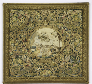 "Panel, almost square, of elaborate embroidery in silk and gold on ground of dark green satin. Central oval with embroidered pictorial representation of the ""Adoration of the Christ Child,"" white background, figures in light colors and metal (worn center and upper right). Elaborate enframement of embroidered design in gold and colored silks. Strapwork pattern combined with flowers, fruit, birds, winged heads of cherubs, and sphinxes in profile. In each corner, an angelic figure, winged, bearing in right hand, a flower, in left, a censer. An embroidered frame in gold may be a later date."