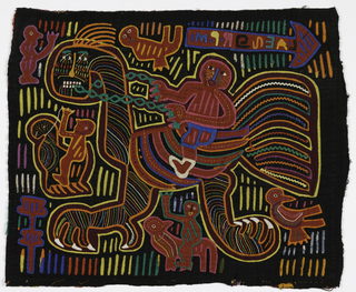 Mola panel in combination of appliqué and reverse appliqué with embroidery. Central motif of man riding a large bird with an animal face; surrounded by smaller figures also riding birds, and an arrow ornamented with script. The background is filled with short vertical lines. In brilliant colors against a black ground.