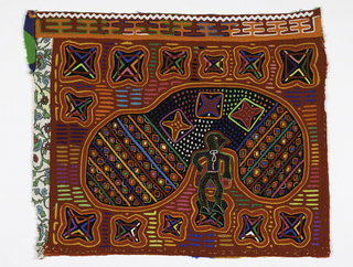 "Panel in reverse applique. Red backing; top layer in red; middle layer showing through in black, blue, yellow, green, pink and orange. At periphery of panel, 13 four-lobed motifs with 4 chevrons and a square in each. Central motif: - black man standing with head in ""parachute"" - at each end of which are lines of small diamond motifs. The center section of parachute has dots and 3 squares with starfish (?) inside them. Top border of white rick-rack and orange horizontal H's."