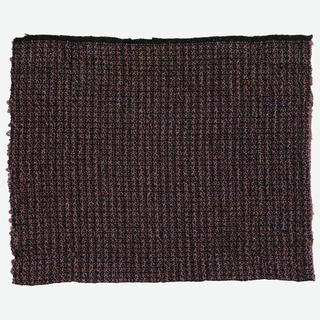 Hand woven sample of textured stripes of raspberry in black.