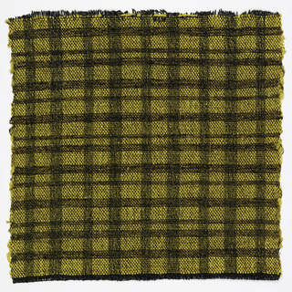Hand woven sample of yellow and black plaid.