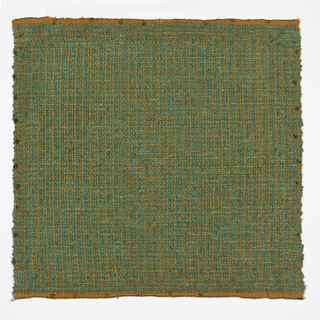 Hand woven sample in mixed orange and green colors.