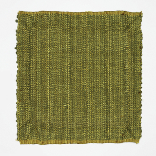 Hand woven olive/brown/yellow fabric with striped effect. Textured yarns.