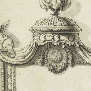 Drawing, Design for Sofa and Mirror, Portrait Room, Royal Palace; Warsaw, Poland
