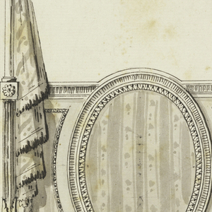 Canopy bed seen from the end with upholstered footboard with an oval panel at center. Canopy dome is decorated with three clusters of feathers. Hangings are caught at either side with rosettes. At left and at right diagram of construction of bed. Scale below: 4 pied.