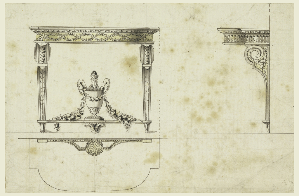 At left, frontal view of console table, covered urn draped with a floral garland on stretcher below. Scale plan is seen below table. At right, another suggestion for overleaf and support of table top.