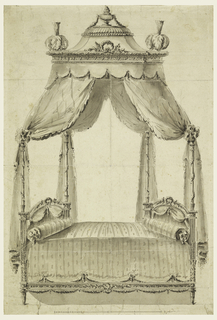 Canopy supported by four posts; upon the corners are bunches of feathers; an urn above and scale below.