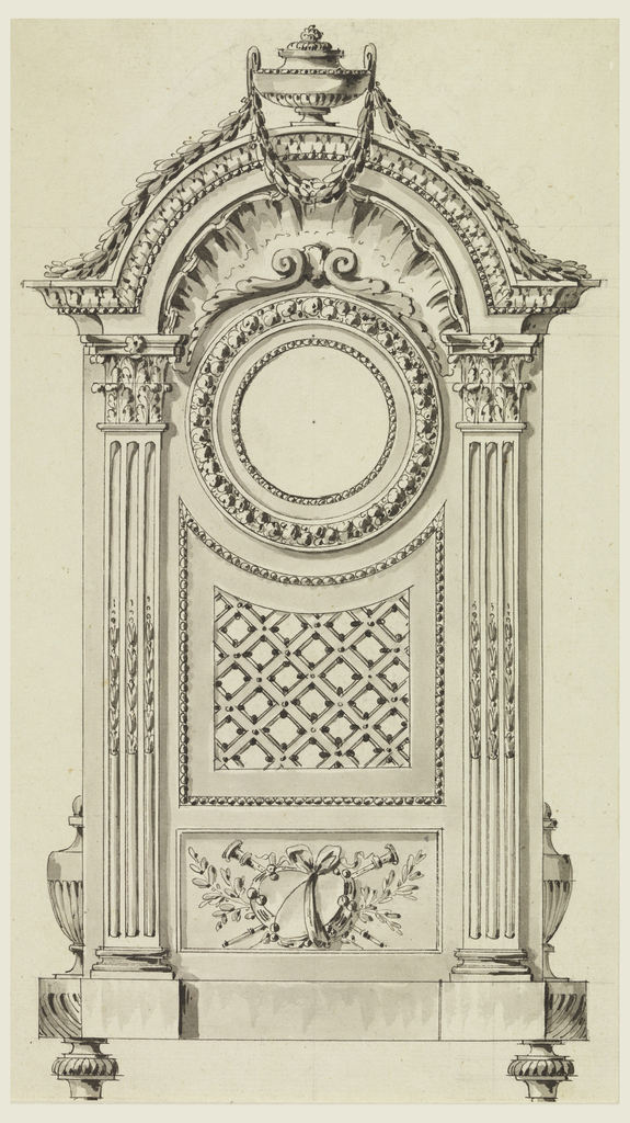 Two fluted pilasters flank circular dial. Above, a pediment consisting of a covered urn on top, a garland of laurel leaves, and a shell in the recessed section of the pediment. A trophy decorated with leaves and a bow, in lower panel. Partial view of covered urns on either side of base, cushioned feet.