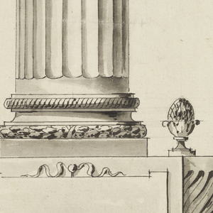 Frontal view: A circular frame for dial, surrounded by laurel leaves, mounted on top of a fluted column draped with a garland. Structure sits on base decorated with knobs, cushion feet. Verso: Portrait of a young man, facing left, faintly seen.