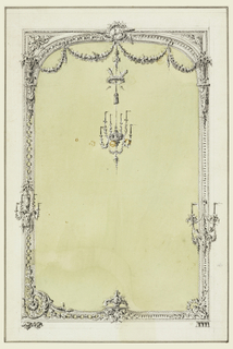 Different details are suggested at left and right. A pair of doves above center, from which are suspended a wreath with two arrows and a chandelier for six candles. Candle brackets at the back. A flower basket on a bracket at lower center.