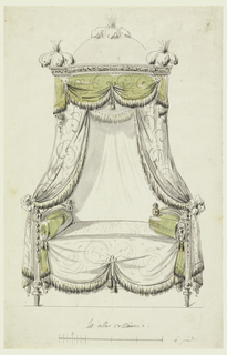 Daybed, hangings suspended from a domed canopy which is decorated with clusters of feathers. Fringed hangings are caught into bows. Frame of bed in Louis XIV style. Scale below.