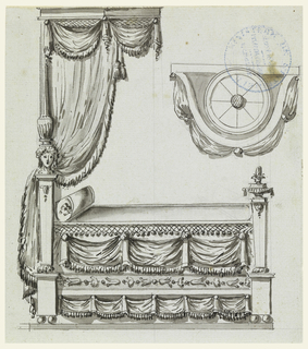 Profile view and plan of canopied bed with drapery and female bust decorating post.