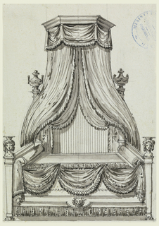 View of bed with draped window at wall. Bed decorated with female busts at posts and lion head at center, tassels, and draping. Above, canopy with urns on either side.
