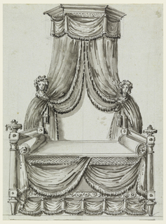 Side view of canopied bed with draping at wall decorated with female busts.