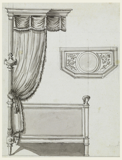 Profile view and plan of canopied bed with draping and with female busts.