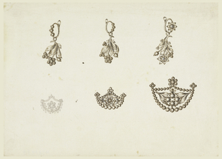 Above are earrings, each consisting of a ring with three stones, the one at right with a blossom, and one hanging band with stems with blossoms or buds of diamonds and leaves of metal. The brooch at left in the shape of an escutcheon, with a frame of volutes and branches, in the center a blossom of diamonds. The escutcheons of the other are framed by rows of diamonds with three groups of diamonds on top. That of the central one containing a blossom and two stems converging to it; the one at right contains to stems with diamonds and other diamonds.