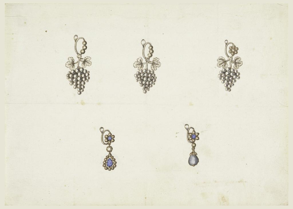 Drawing, Five Earrings