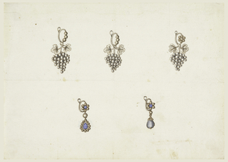 Above three and below two earrings. Each of the above consists of a ring of diamonds and a hanging bunch of grapes with two leaves. Below left, upon the ring a blossom, a hanging diamond and below it a blue one, drop-like, in inverse direction, framed by a row of diamonds. Below right, upon the ring a blossom, a hanging small diamond and drop-like blue one with a chalice.