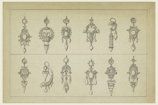 Two rows of six earrings each. Above, the first third and sixth have escutcheons; the fourth two rams' heads, the fifth ram's head. Below, the first with a tablet inscribed: L V X; the second a snake with a hanging vase and a ram's head below, the third has three drops, with central drop in shape of sun. The fifth has, above, a tablet, semicircle cresting and hanging vase, the sixth has an escutcheon and a hanging vase.