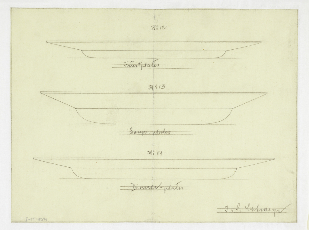 Designs for three glass dinner plates, designated: fruit plates, soup plates, and dinner plates.