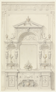 "Wall elevation for entrance hall in renaissance-revival style (although it is called ""genre Boulle"" in published drawing, see bibliography).  Lower portion consists of console decorated with panels with carved urns, masks and a garland.  Two metal (?) ewers flank a metal (?) covered vase on lower opening.  Central portion dominated by a large mirror with floral arrangement below, niches on either side decorated with caryatids on pilasters, cups in the mannerist style and tazzas below.  Upper portion consists of open pediment with covered cup and a demi-lune carving with cartouche and date (1873), flanked by volute-figures reclining on garlands of fruit, a covered cup on base at each end.  Cast shadows throughout."