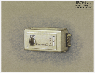 Grayish-white regulator with knob on left, inscribed with the name Honeywell in the center, and controls with numbers on right.