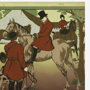 "Frieze shows mounted hunters in red coats, with hound dogs, against a landscape background, with deep red foreground. Printed in upper margin: Carey Bros. W.P. Mfg. Co."" Intended for use in alternation with 1938-50-18."