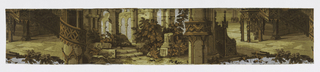 Horizontal strip of joined wallpaper cutting across two and one-half widths of paper showing classical ruins, gothic tracery, balustrades and shrubbery. Drop match, full repeat not shown.