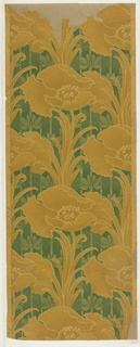 "On a ground of vertical stems and flowers in two green tones large conventionalized poppies in mustard, outlined in yellowish color of stock. Art nouveau design. Drop repeat, straight match. Printed in left selvedge: ""Albert Ainsworth Desgr."""