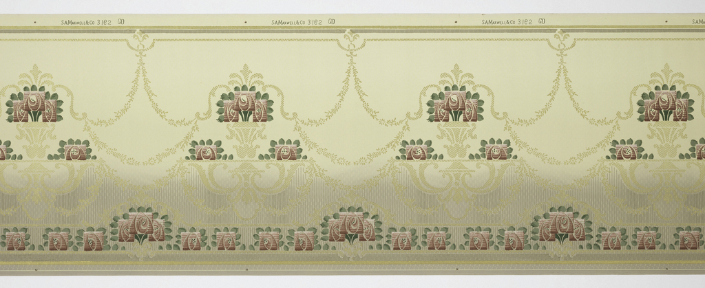 Stylized flowers resting on metalic gold platforms interlaced by foliate swags. Alternating bouquet and single flower pattern on bottom. Green and gold stripes on top and bottom.  Printed on green shaded background that is darker on the bottom and lighter toward the top. Printed in green, metalic gold and burgundy.
