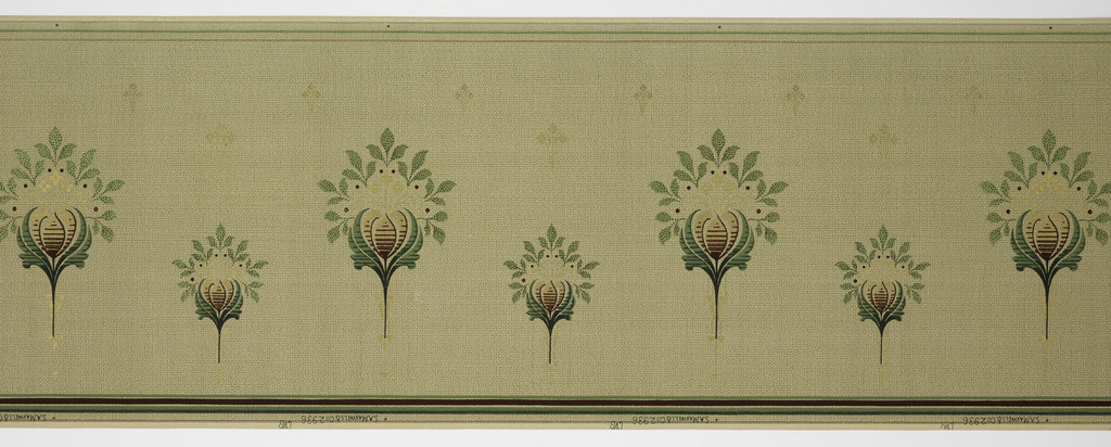 Alternating large and small stylized flowers. Printed in metallic greens and golds on background simulating a weave.