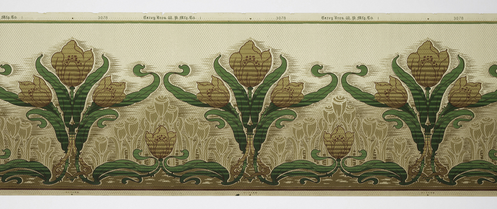 Grouping of three tulips alternating with single tulip. Printed in shades of brown, green, and tan on tan ground.
