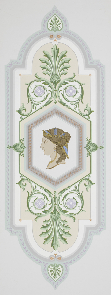 Anthemion arabesque enframes hexagon with profile head of Greek woman, printed in colors on off-white ground.
