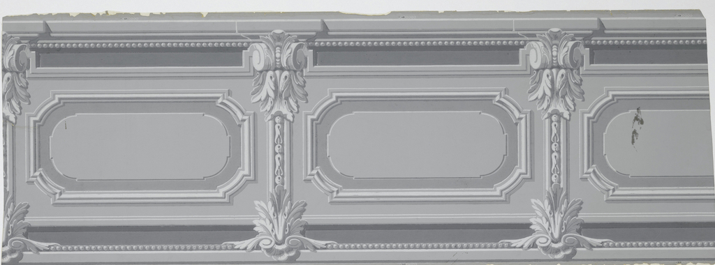 Dado with inset panels. Moldings forming horizontal rectangles with rounded corners. Between them, pilasters with scrolled capitals. Bead molding above and below. Printed in shades of bluish gray.