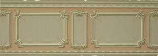 Dado with inset panels. Wide and narrow panels with molded and scrolled edges alternating, tan on pink ground. Bead molding above, line-decorated molding below.