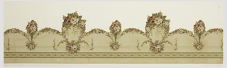 Frieze Crown frieze (cut-out) of swags and bunches of roses hanging from leafy band.  Had been separated into a,b components at perforation but is now reassembled. 1900–10 Machine-printed on paper, die-cut 134 x 38 cm (52 3/4 x 14 15/16 in.) Place made: United States  Gift of Mary M. Kenway from the estate of Sarah B. Russell