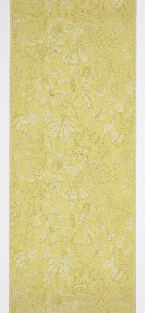 "Against a light yellow-green textured ground is printed an all-over linear pattern of imaginary blossoms and foliage heightened with light areas of pale yellow and fine, dark green details. Printed in selvedge: ""3117 Phyllis - Original Entwurf. Prof. Fritz Aug. Breuhaus""."