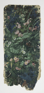 Over dark blue ground, thick tangle of green leaves, pink flowers, white morning glories.