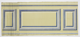 Dado with inset panels. Printed in shades of blue and white on beige ground.