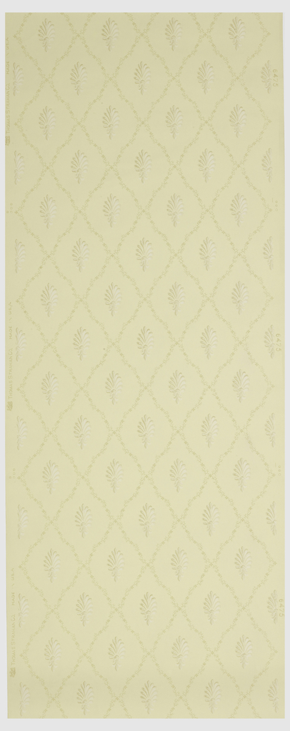 Repeating pattern of a palmette set within a diaper framework, printed in shades of tans and off-whites.