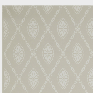 Repeating pattern of scallop motif set within diaper framework, printed in white on gray ground.