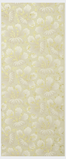 Repeating floral pattern printed in pink and white mica, with gold mica glitter stamen, on off-white ground. Flitter
