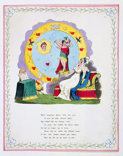 Folio. Interior. At right figure of woman is seated, looking toward head of a man, seen in a halo of light. Figure of Cupid points the way. Table at left, with globe and open book. Eight lines of verse below. Decorative border.