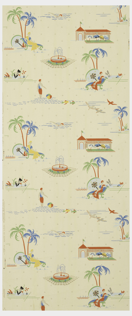 Beach and poolside vignettes, figure with beach ball, two women reclining in chaise longue chairs, fountain, palm trees and sea gulls. Printed in colors on a pale yellow ground.