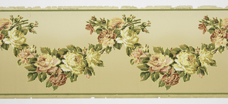 Flitter frieze containing leafy garlands of large roses and buds. Printed in red, pink, green, tan, yellow, white and gold mica flakes on a tan ground.