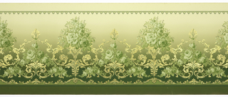 "Flitter frieze containing bouquets of roses set atop vase-like acanthus scrolls. Top edge has narrow border of ""C"" curves and trefoils. Lower border is a band of acanthus. Printed in shades of green and gold mica flakes on a background that shades from medium to light green."