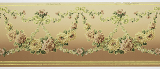 Flitter frieze containing swags of roses hung from vine-entwined ribbons with daisy chains linking the swags to large ribbon bows. Stripes at the edges. Printed in shades of pink, shades of green, tan and gold mica flakes on a background that shades from a medium pinkish-brown to a lighter shade.