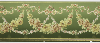 Flitter frieze containing swags of roses hung from the vine-entwined ribbons with daisy chains linking the swags to a large ribbon of bows. There are stripes at the edge. Printed in pinks, greens, and yellow on a background that shades from deep to lighter green
