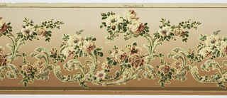 Flitter frieze with acanthus leaves framing sprays of large roses and leaves. Printed in greens, pinks, tan and gold mica flakes on a background that shades from a medium pinkish-brown to a lighter shade.